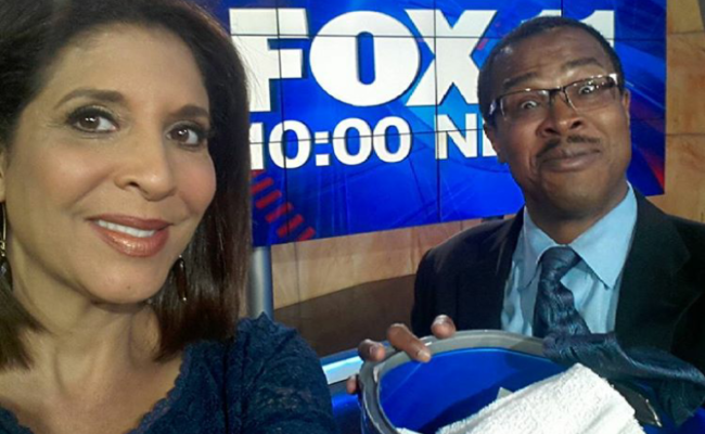Kevin Jones with Christine Devine of Fox11 News